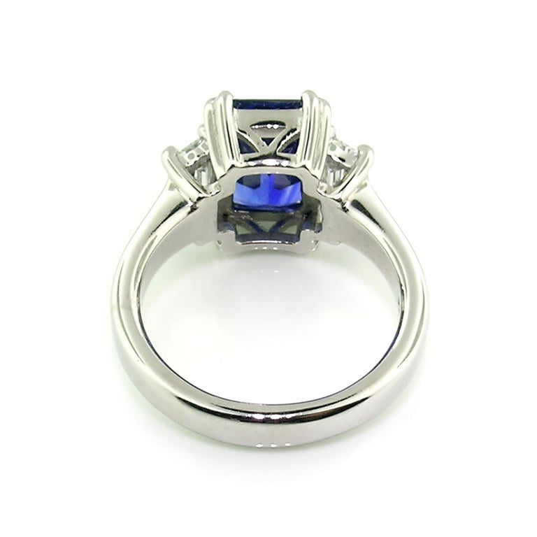 Women's 3.67 Carat Royal Blue Ceylon Sapphire in Diamond and Platinum Ring 'GRS Report' For Sale
