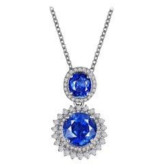 3.67 Carat Sri Lanka Blue Sapphire Diamond Necklace 18k White Gold