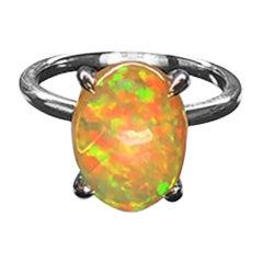 3.68 Carat Ethiopian Opal Platinum Cocktail Ring Estate Fine Jewelry