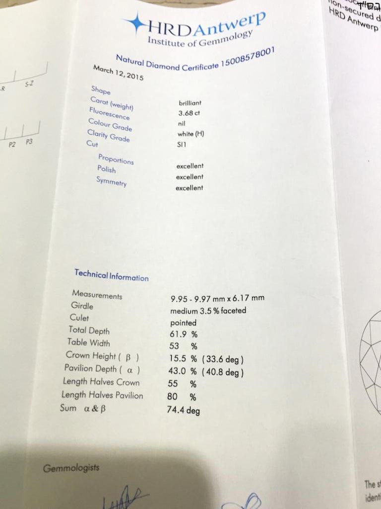 3 68 Carat Hrd Certificate White Diamond