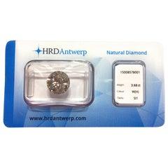 3.68 Carat HRD Certificate White Diamond