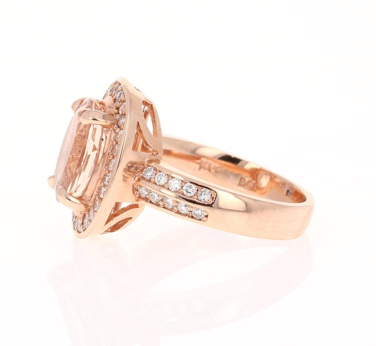 Modern 3.68 Carat Morganite Diamond 14 Karat White Rose Cocktail Ring For Sale