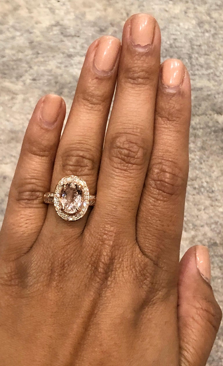 3.68 Carat Morganite Diamond 14 Karat White Rose Cocktail Ring In New Condition For Sale In Los Angeles, CA