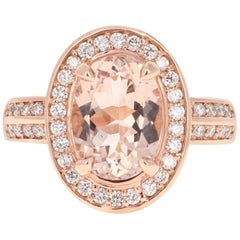 3.68 Carat Morganite Diamond 14 Karat White Rose Cocktail Ring
