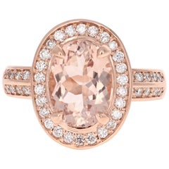 3.68 Carat Morganite Diamond Rose Gold Cocktail Ring