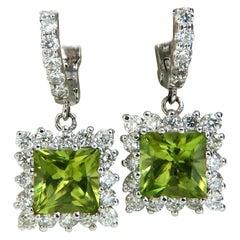 3.68 Carat Natural Peridot 1.36 Carat Diamond Dangle Earrings 14 Karat