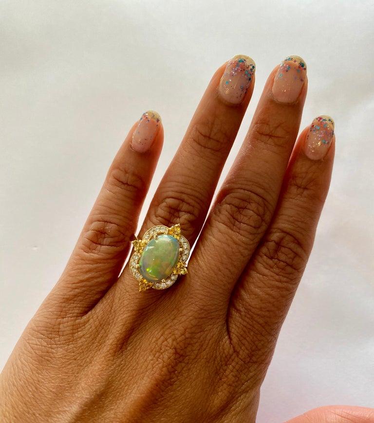 Women's 3.68 Carat Opal Sapphire Diamond 14 Karat Yellow Gold Ring For Sale
