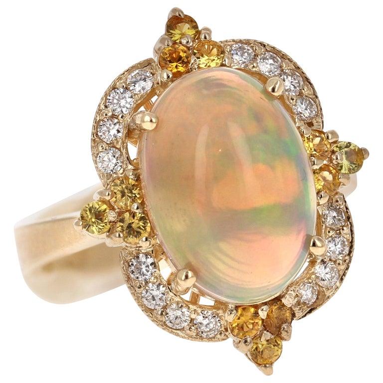 3.68 Carat Opal Sapphire Diamond 14 Karat Yellow Gold Ring For Sale