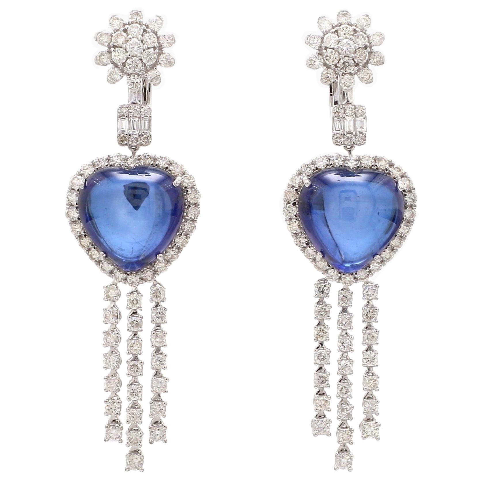36.80 Carat Blue Sapphire Diamond 18 Karat Gold Heart Earrings