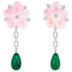 36.85 Carat Emerald Dangle Earring