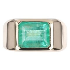 3.68cts 14K Colombian Emerald, Emerald Cut Gypsy Bezel Set Solitaire Ring