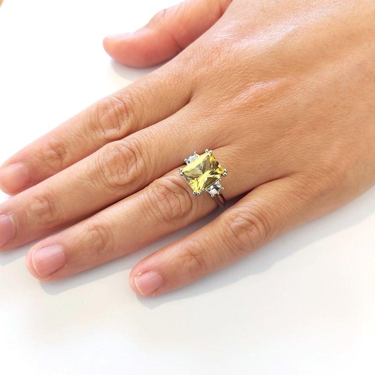 Art Deco 3.69 Carat Beryl Yellow Emerald Cut Diamond Three-Stone Ring Natalie Barney For Sale