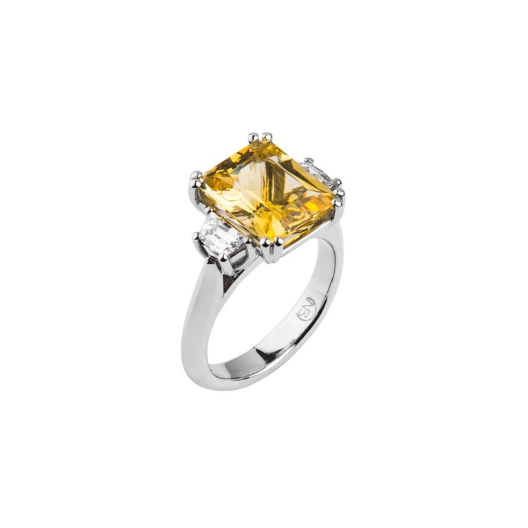 3.69 Carat Beryl Yellow Emerald Cut Diamond Three-Stone Ring Natalie Barney For Sale 1