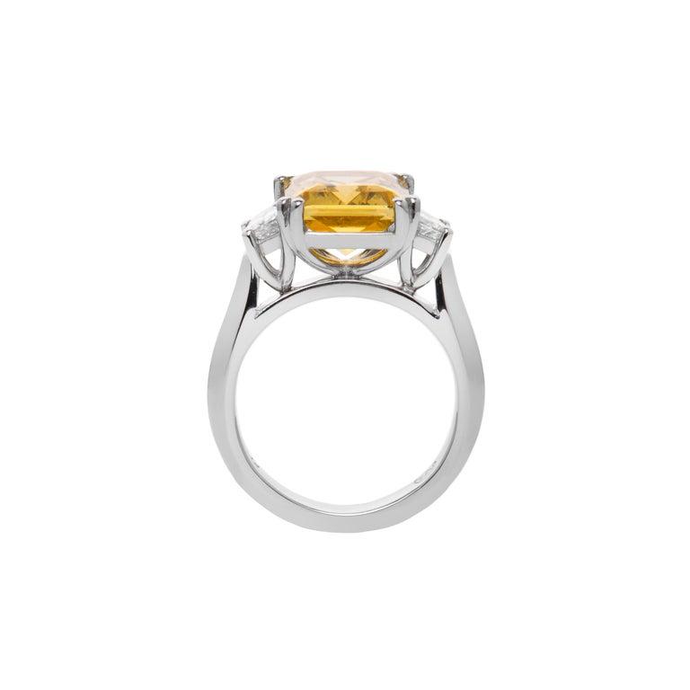 3.69 Carat Beryl Yellow Emerald Cut Diamond Three-Stone Ring Natalie Barney For Sale 2