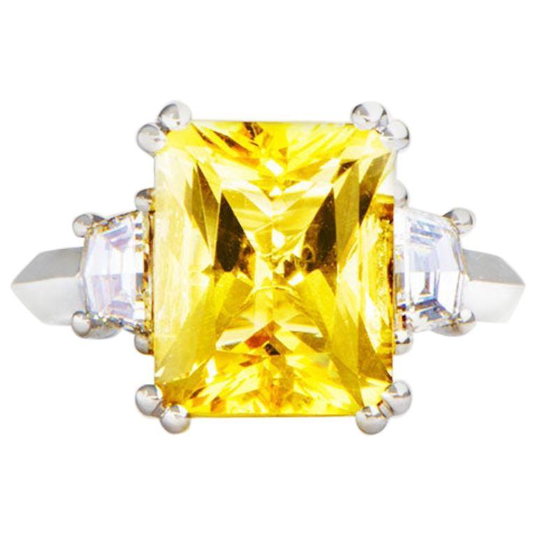 3.69 Carat Beryl Yellow Emerald Cut Diamond Three-Stone Ring Natalie Barney For Sale