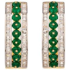 3.69 Carat Emerald Bead and Diamond Baguette Linear Hoop Earrings