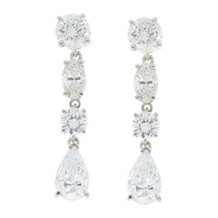 3.69 Carat Total Marquise and Round Diamond Dangle Earring