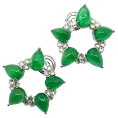 36.95 Carat Cabochon Emerald and 3.50 Carat White Diamonds Clip-On Earrings