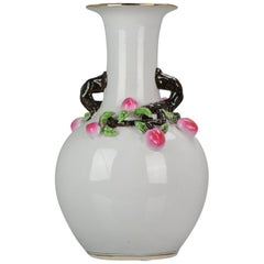 Chinese Famille Rose Vase Peaches Relief Branches Marked Decorative