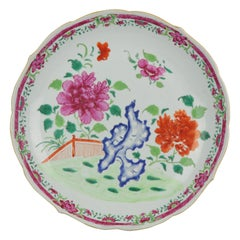 36CM Chinese Porcelain Pre Bencharong Famille Rose Charger Southeast Asia
