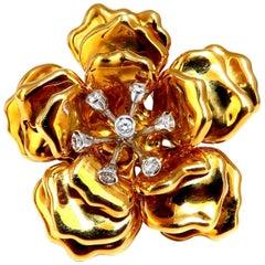 .36 Carat Natural Round Diamonds Blossom Flower Rose Brooch Pin 18 Karat