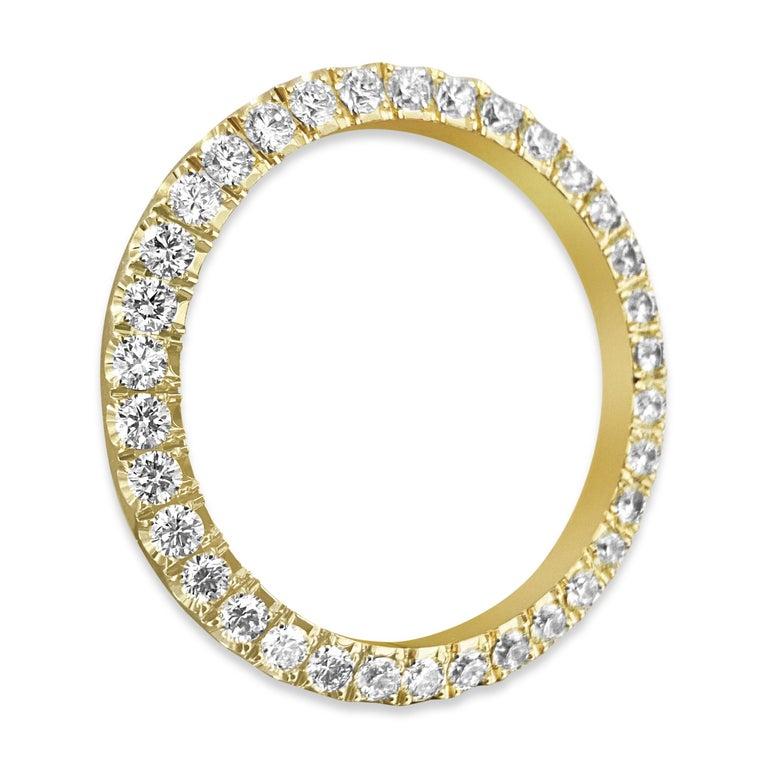 Modern Rolex Bezel 4.50 Carat VVS Diamonds 14 Karat Yellow Gold For Sale