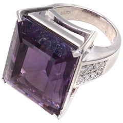37 Carat Amethyst Diamond Platinum Ring