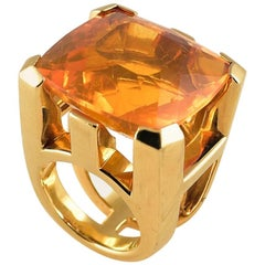 37 Carat Fire Opal Gold Cocktail Ring Tony Duquette Fine Jewelry
