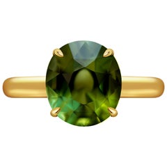 3.7 Carat Green Tourmaline 14 Karat Yellow Gold Ring