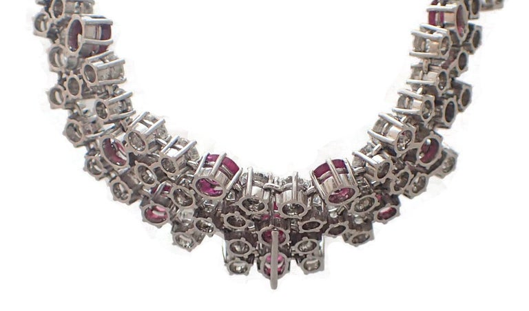 37 Carat Ruby and Diamond Necklace in Platinum For Sale 1
