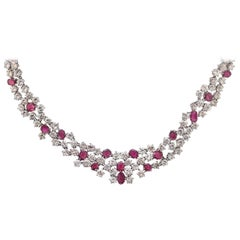 37 Carat Ruby and Diamond Necklace in Platinum