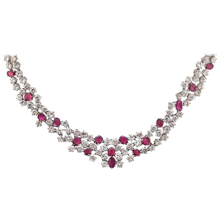 37 Carat Ruby and Diamond Necklace in Platinum For Sale