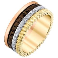 .37 Carat Total Diamond, White, Yellow, Rose and Chocolate Gold Eternity Band