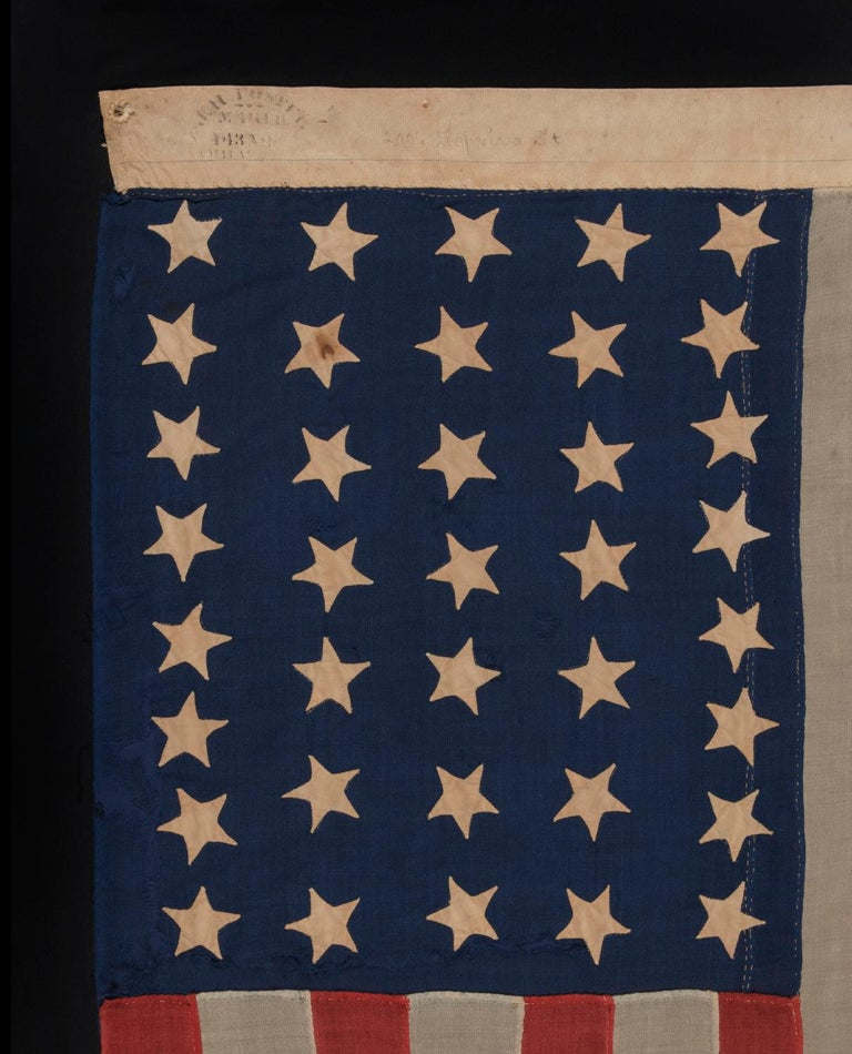 37 Star Antique American Flag Entirely Hand Sewn In Good Condition For Sale In York County, PA