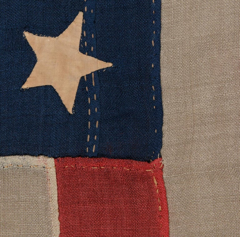 Late 19th Century 37 Star Antique American Flag Entirely Hand Sewn For Sale