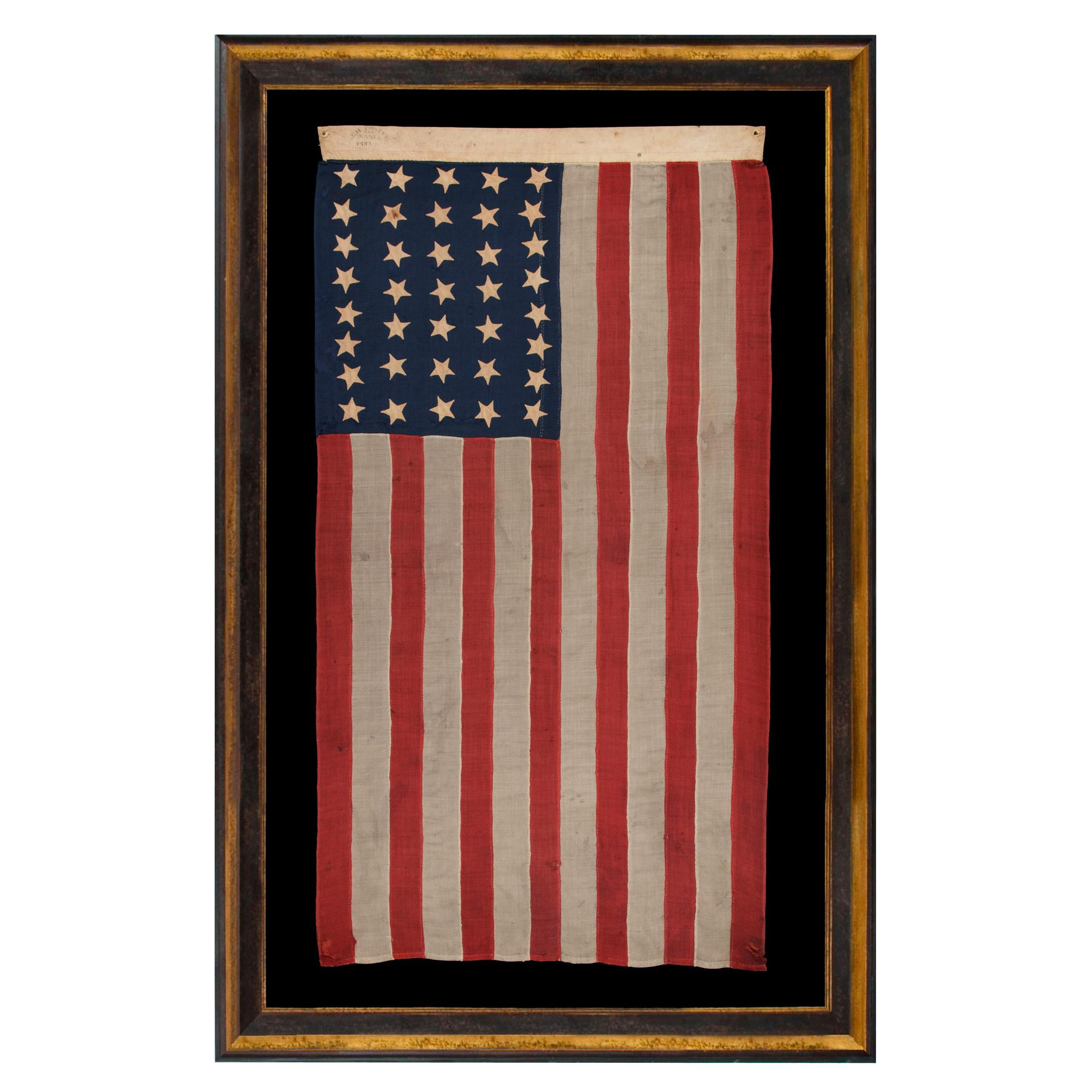 37 Star Antique American Flag, Entirely Hand Sewn, Signed Foster, Phila. 1867-76