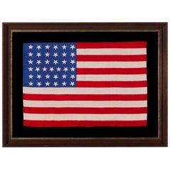 37 Star Antique American Flag, Nebraska Statehood, circa 1867-1876