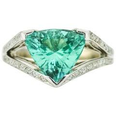 3.70 Carat 18 Karat Gold AGL Certified Trillion Paraiba Tourmaline Diamond Ring