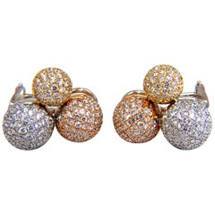 3.70 Carat Ball Cluster Bead Set Diamonds Clip Earrings 18 Karat