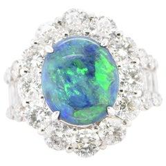 3.70 Carat Black Opal and Diamond Halo Ring Set in Platinum