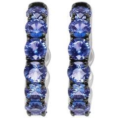 3.70 Carat Round Blue Sapphire Hoop Earrings 14K White Gold