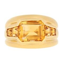 3.70 Carat Citrine Ring, 18 Karat Yellow Gold Matte