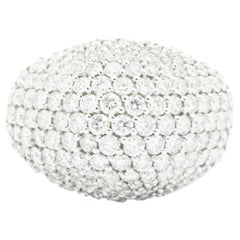 3.70 Carat Diamond Dome Pave 18 Karat White gold Ring