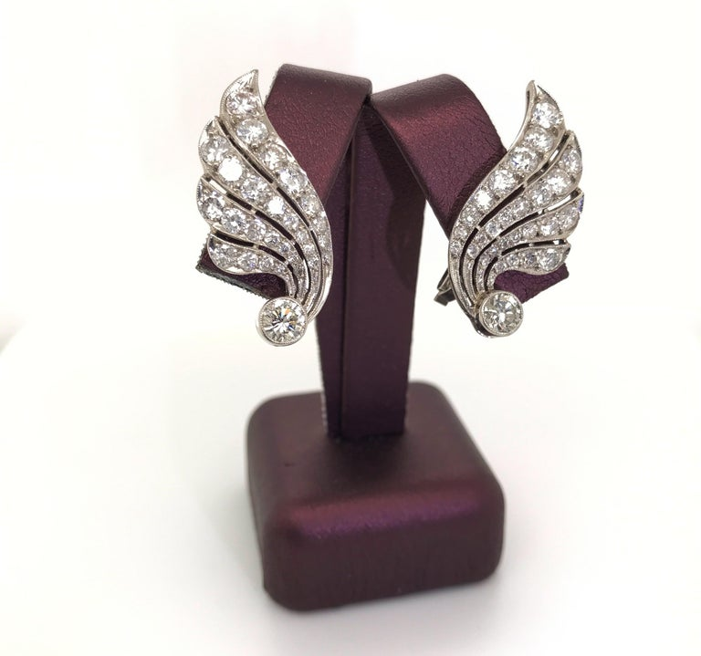 3.70 Carat Diamond & Platinum Wing Ear Clips For Sale 4
