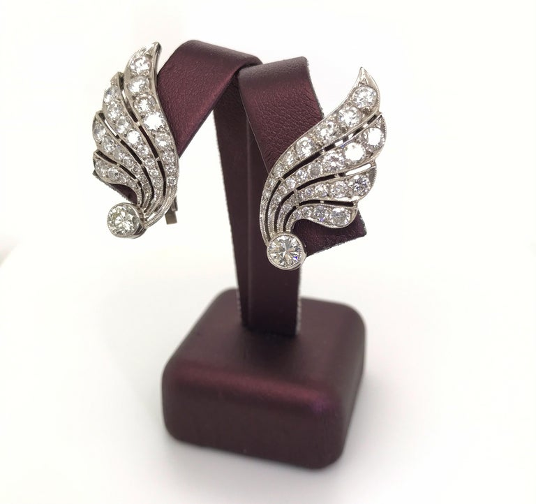 3.70 Carat Diamond & Platinum Wing Ear Clips For Sale 5