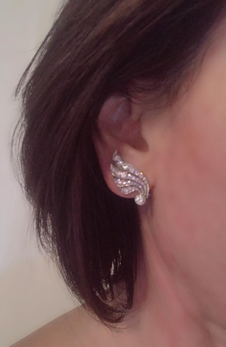 3.70 Carat Diamond & Platinum Wing Ear Clips For Sale 8