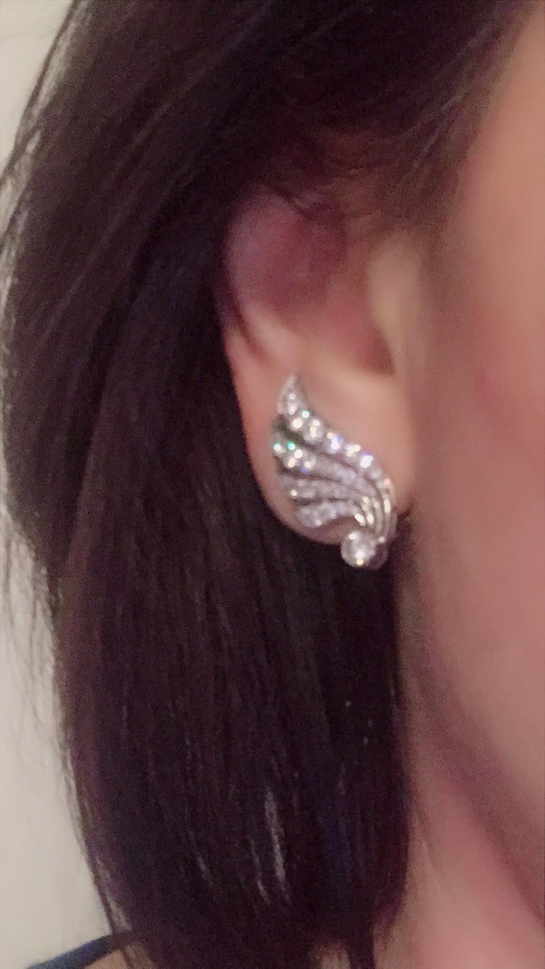 3.70 Carat Diamond & Platinum Wing Ear Clips For Sale 9