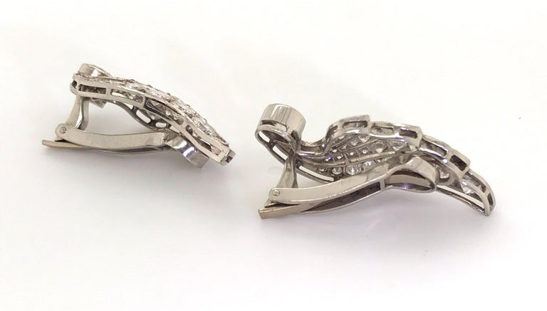 Round Cut 3.70 Carat Diamond & Platinum Wing Ear Clips For Sale