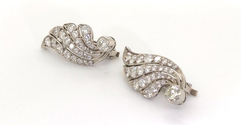 Women's 3.70 Carat Diamond & Platinum Wing Ear Clips For Sale