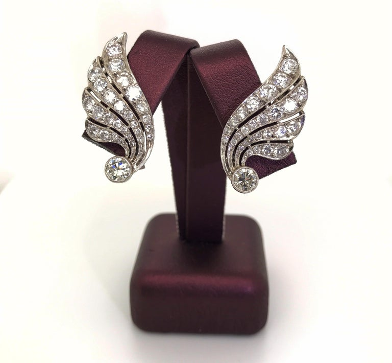3.70 Carat Diamond & Platinum Wing Ear Clips For Sale 2
